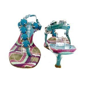 Prada Beaded Kitten Heel Sandals Vintage IT 36